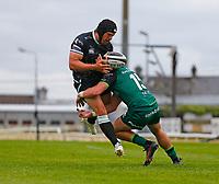 4th June 2021; Galway Sportsgrounds, Galway, Connacht, Ireland; Rainbow Cup Rugby, Connacht versus Ospreys; Alex Wootton (Connacht) tackles Dan Evans (Ospreys)