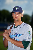 Vermont Lake Monsters infielder Chad Pinder (9) poses for a photo before a game against the Batavia Muckdogs on July 11, 2013 at Dwyer Stadium in Batavia, New York.  Batavia defeated Vermont 1-0.  (Mike Janes/Four Seam Images)