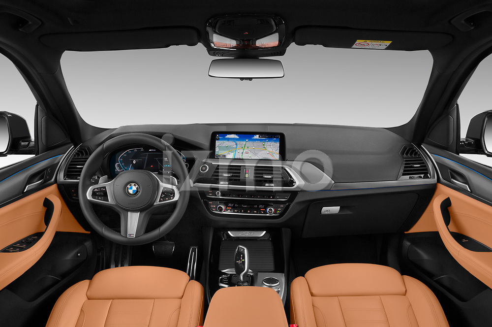 Stock photo of straight dashboard view of 2020 BMW X3 M-Sport 5 Door SUV Dashboard