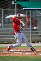 GCL Cardinals first baseman Zack Gahagan (38) swings at a pitch during a game against the GCL Nationals on August 5, 2018 at Roger Dean Chevrolet Stadium in Jupiter, Florida.  GCL Cardinals defeated GCL Nationals 17-7.  (Mike Janes/Four Seam Images)