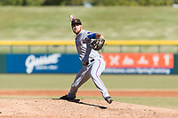 Surprise Saguaros relief pitcher Joe Kuzia (52), of the Texas Rangers organization, delivers a pitch during an Arizona Fall League game against the Mesa Solar Sox at Sloan Park on November 15, 2018 in Mesa, Arizona. Mesa defeated Surprise 11-10. (Zachary Lucy/Four Seam Images)