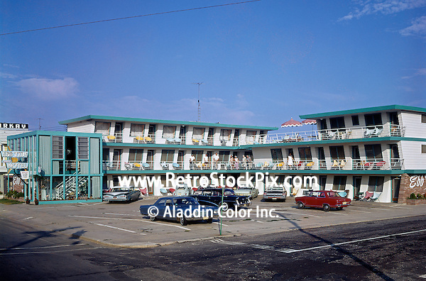 Ebb Tide Motel located in Wildwood, NJ. 1960's Exterior & old cars.