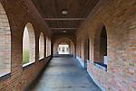 Brick, outdoor, covered hallway of Mount Angel Abbey, St. Benedict, Oregon