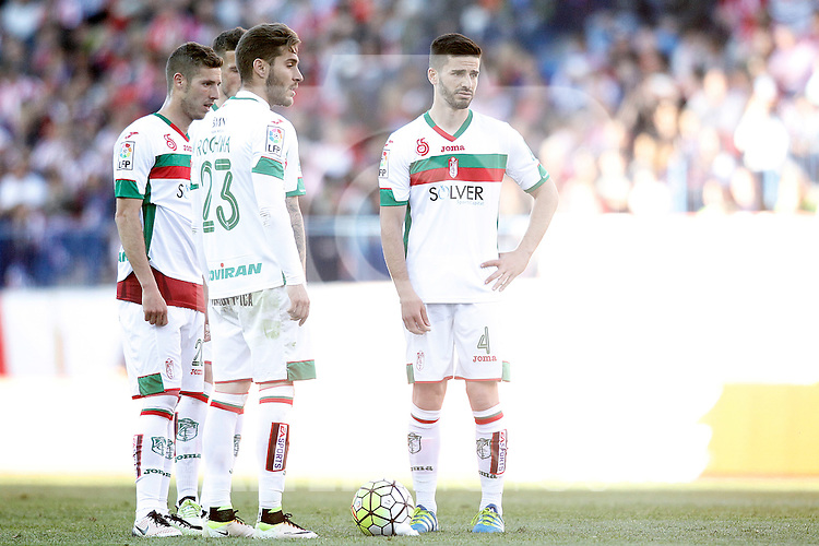 Granada Club de Futbol's Ruben Perez, Ruben Rochina and Fran Rico during La Liga match. April 17,2016. (ALTERPHOTOS/Acero)