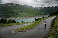 Loïc Vliegen (BEL/Intermarché - Wanty - Gobert) descending the Col du Pré (HC/1748m) towards the Barrage de Roselend in, yet again, grim conditions.<br /> <br /> Stage 9 from Cluses to Tignes (145km)<br /> 108th Tour de France 2021 (2.UWT)<br /> <br /> ©kramon