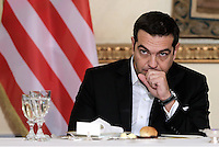 Pictured: Greek Prime Minister Alexis Tsipras. Tuesday 15 November 2016<br /> Re: US President Barack Obama attends official stat banquet at the Presidential Mansion during his visit to Athens Greece