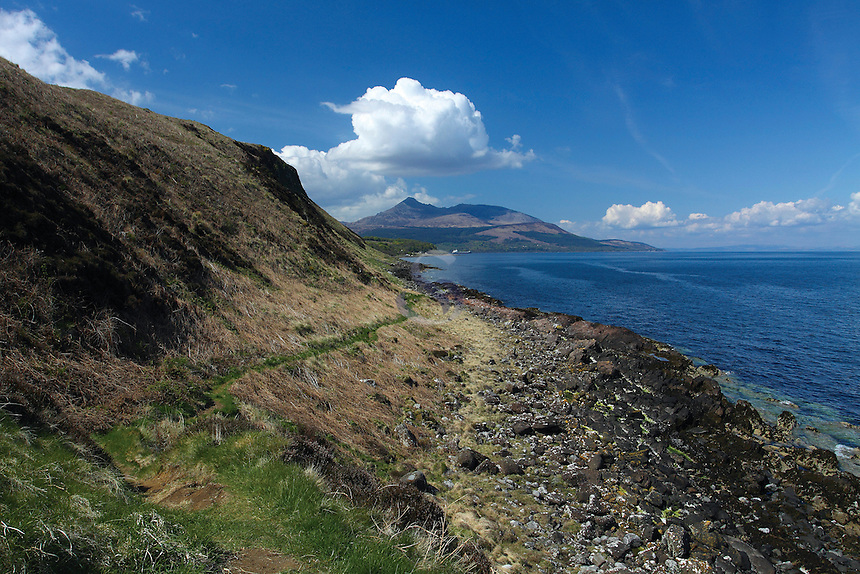 Goat Fell and Brodick Bay from Clauchlands Point on the Arran Coastal Path, Isle of Arran, Ayrshire<br /> <br /> Copyright www.scottishhorizons.co.uk/Keith Fergus 2011 All Rights Reserved