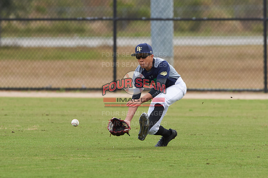 Joshua Algarin (4) of Sunnyvale, California during the Baseball Factory All-America Pre-Season Rookie Tournament, powered by Under Armour, on January 13, 2018 at Lake Myrtle Sports Complex in Auburndale, Florida.  (Michael Johnson/Four Seam Images)