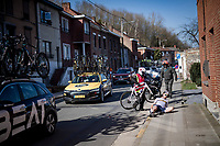 crash by Clément Carisey (FRA/DELKO)<br /> <br /> 53rd Le Samyn 2021<br /> ME (1.1)<br /> 1 day race from Quaregnon to Dour (BEL/205km)<br /> <br /> ©kramon