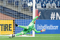 FOXBOROUGH, MA - JUNE 26: Colin Shutler #1 of North Texas SC dives for ball off the penalty kick during a game between North Texas SC and New England Revolution II at Gillette Stadium on June 26, 2021 in Foxborough, Massachusetts.