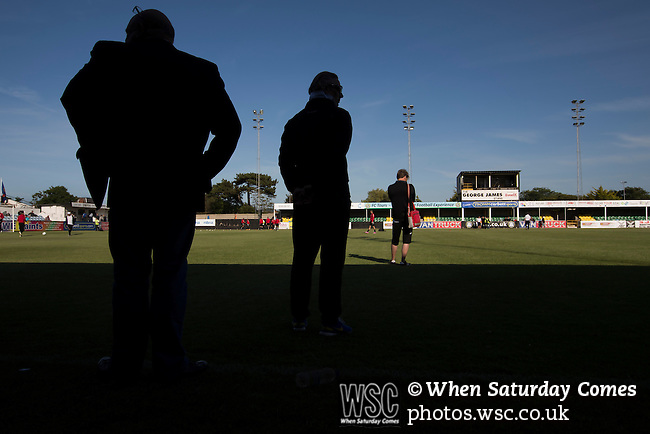 Bala Town 3 FC Differdange 4, 03/08/2015. Belle Vue, Europa League. The away team's coaching staff watching the pre-match warm-up before the Europa League first qualifying round, second leg tie between Bala Town from Wales and FC Differdange 03 of Luxembourg. It was the Welsh club's second season of European competition, and due to ground regulations the match was played at nearby Belle Vue, home of Rhyl FC. The visitors won the tie 4-3 on aggregate due to a last-minute away goal by Omar Er Rafik, in a game watched by 1039 fans and progressed to play Turkish giants Trabzonspor in the next round. Photo by Colin McPherson.