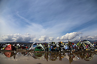Pictured: A blue sky above the tents surrounded by flooded fields Tuesday 08 March 2016<br /> Re: Heavy overnight rain has flooded the migrant camp at the Greek FYRO Macedonian border of Idomeni in Greece