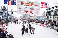 Saturday, March 3, 2012  Bill Pinkham leaves the start line of the Ceremonial Start of Iditarod 2012 in Anchorage, Alaska.