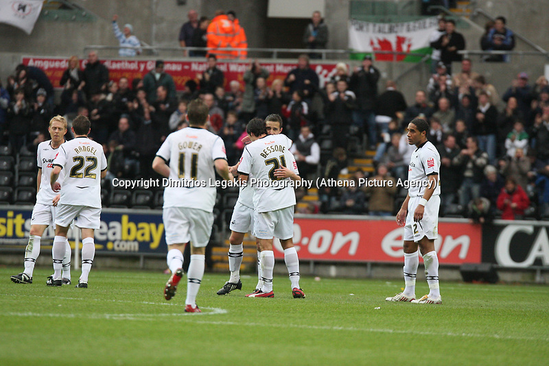 Pictured: Ferrie Bodde (left centre) is hugged by Federico Bessone (right centre) of Swansea City<br /> Re: Coca Cola Championship, Swansea City Football Club v Watford at the Liberty Stadium, Swansea, south Wales 09 November 2008.<br /> Picture by Dimitrios Legakis Photography (Athena Picture Agency), Swansea, 07815441513