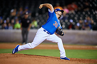 Oklahoma City Dodgers relief pitcher Joe Broussard (30) delivers a pitch during a game against the Colorado Springs Sky Sox on June 2, 2017 at Chickasaw Bricktown Ballpark in Oklahoma City, Oklahoma.  Colorado Springs defeated Oklahoma City 1-0 in ten innings.  (Mike Janes/Four Seam Images)