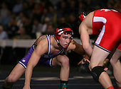 Brian Sewalt (IV) and Alex Ekstrom (V) square off in the NY State Division Two finals at the 135 weight class during the NY State Wrestling Championship finals at Blue Cross Arena on March 9, 2009 in Rochester, New York.  (Copyright Mike Janes Photography)