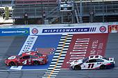 #4: Kevin Harvick, Stewart-Haas Racing, Ford Mustang Busch Light Apple #11: Denny Hamlin, Joe Gibbs Racing, Toyota Camry FedEx Ground