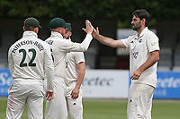 Brett Hutton of Nottinghamshire celebrates with his team mates after taking the wicket of Shane Snater during Essex CCC vs Nottinghamshire CCC, LV Insurance County Championship Group 1 Cricket at The Cloudfm County Ground on 6th June 2021
