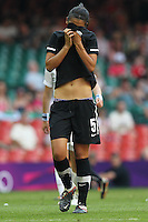 Disappointment for Abby ERCEG of New Zealand - Great Britain Women vs New Zealand Women - Womens Olympic Football Tournament London 2012 Group E at the Millenium Stadium, Cardiff, Wales - 25/07/12 - MANDATORY CREDIT: Gavin Ellis/SHEKICKS/TGSPHOTO - Self billing applies where appropriate - 0845 094 6026 - contact@tgsphoto.co.uk - NO UNPAID USE.