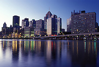skyline, Pittsburgh, PA, Pennsylvania, downtown skyline of Pittsburgh, evening, Allegheny River at sunset.