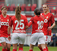 Standard's Sylke Calleeuw (9) congratulates Standard's Noemie Gelders (10) for her goal during a female soccer game between Standard Femina de Liege and KRC Genk Ladies  on the third matchday of the 2020 - 2021 season of Belgian Womens Super League , Saturday 3 rd of October 2020  in Liege , Belgium . PHOTO SPORTPIX.BE   SPP   SEVIL OKTEM