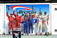 4 July, 2009, Daytona Beach, Florida USA.Daytona Prototype Podium. (L to R) 2nd: #99 Gainsco/Bob Stallings Racing Pontiac/Riley of Jon Fogarty & Alex Gurney,1st: #10 SunTrust Racing Ford/Dallara of Max Angelelli & Brian Friselle, 3rd: Ryan Dalziel & Bill Lester..©2009 F.Peirce Williams, USA.