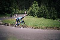 descending the Passo della Mauria<br /> <br /> stage 15: Tolmezzo – Sappada (176 km)<br /> 101th Giro d'Italia 2018