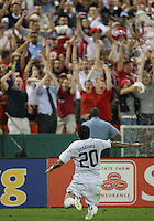 Santino Quaranta #20 of the USA celebrates after scoring the winning goal during a CONCACAF Gold Cup match against Honduras at RFK Stadium on July 8 2009 in Washington D.C. USA won the match 2-0.