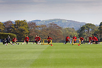 Pictured: Players in action. Monday 31 August 2020<br /> Re: Wales football training ahead of their game against Finland, at the Vale Resort in Hensol, Wales, UK.