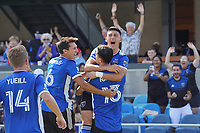 SAN JOSE, CA - AUGUST 8: Nathan Cardoso #13 of the San Jose Earthquakes celebrates scoring with teammates during a game between Los Angeles FC and San Jose Earthquakes at PayPal Park on August 8, 2021 in San Jose, California.