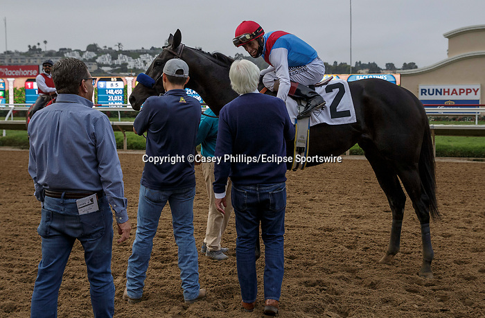 DEL MAR, CA  AUGUST 29: #2 Medina Spirit ridden by John Velasquez, receive congratulations from trainer Bob Baffert after winning the Shared Belief Stakes on August 29, 2021 at Del Mar Thoroughbred Club in Del Mar, CA. (Photo by Casey Phillips/Eclipse Sportswire/CSM)