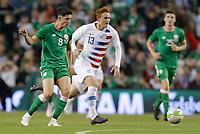 Dublin, Ireland - Saturday June 02, 2018: Callum O'Dowda, Josh Sargent during an international friendly match between the men's national teams of the United States (USA) and Republic of Ireland (IRE) at Aviva Stadium.
