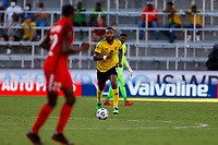 July 16th 2021; Orlando, Florida, USA; Jamaica defender Liam Moore comes forward on the ball during the Concacaf Gold Cup match between Guadeloupe and Jamaica on July 16, 2021 at Exploria Stadium in Orlando, Fl.