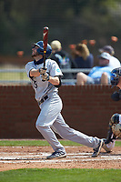 Jake Rowden (28) of the Catawba Indians follows through on his swing against the Queens Royals during game one of a double-header at Tuckaseegee Dream Fields on March 26, 2021 in Kannapolis, North Carolina. (Brian Westerholt/Four Seam Images)