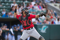 Billings Mustangs catcher Pabel Manzanero (47) throws to second base during a Pioneer League game against the Ogden Raptors at Lindquist Field on August 17, 2018 in Ogden, Utah. The Billings Mustangs defeated the Ogden Raptors by a score of 6-3. (Zachary Lucy/Four Seam Images)