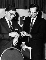 Montreal (QC) CANADA file photo -Jan 20 1985 - Gerard d levesque (L) and Robert Bourassa