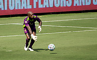 LOS ANGELES, CA - AUGUST 22: Kenneth Vermeer #1 GK of LAFC passes off the ball during a game between Los Angeles Galaxy and Los Angeles FC at Banc of California Stadium on August 22, 2020 in Los Angeles, California.