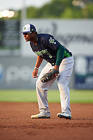 Vermont Lake Monsters first baseman Miguel Mercedes (7) during a game against the Auburn Doubledays on July 12, 2016 at Falcon Park in Auburn, New York.  Auburn defeated Vermont 3-1.  (Mike Janes/Four Seam Images)