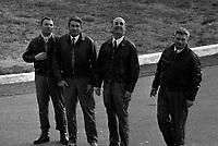 Le  1er vol d'essai du Concorde-<br /> Aérogare Blagnac ,Toulouse, France,<br />  2 mars 1969<br /> <br /> 1er équipage du Concorde (vue de face) de g. à d. : Henri Perrier (pilote), Jacques Guignard (pilote), André Turcat (directeur des essais en vol de Sud Aviation et pilote) et Michel Rétif (mécanicien)