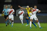 5th July 2021; Nilton Santos Stadium, Rio de Janeiro, Brazil; Copa America, Brazil versus Peru; Richarlison of Brazil and Alexander Callens of Peru