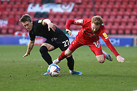 Alex Hurst of Port Vale and James Brophy of Leyton Orient during Leyton Orient vs Port Vale, Sky Bet EFL League 2 Football at The Breyer Group Stadium on 20th February 2021