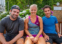 London, England, 10 th. July, 2018, Tennis,  Wimbledon, Practise courts: Kiki Bertens (NED) and her coach Raemon Sluiter (NED) (L) her friend and physical coach Remko de Rijke (NED) (R)<br /> Photo: Henk Koster/tennisimages.com
