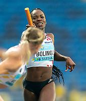 1st May 2021; Silesian Stadium, Chorzow, Poland; World Athletics Relays 2021. Day 1; Cynthia Bolingo of Belgium during a handover in the women's 4 x 400m heats