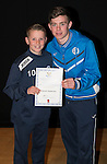 St Johnstone FC Academy Awards Night...06.04.15  Perth Concert Hall<br /> Craig Thomson presents a certificate to Kieran Sweeney<br /> Picture by Graeme Hart.<br /> Copyright Perthshire Picture Agency<br /> Tel: 01738 623350  Mobile: 07990 594431