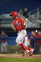 Williamsport Crosscutters second baseman Luis Espiritu, Jr. (33) at bat during a game against the Batavia Muckdogs on September 1, 2016 at Dwyer Stadium in Batavia, New York.  Williamsport defeated Batavia 10-3. (Mike Janes/Four Seam Images)