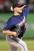 Minnesota Twins pitcher Glen Perkins #15 delivers a pitch during a Major League Baseball game against the Texas Rangers at the Rangers Ballpark in Arlington, Texas on July 27, 2011. Minnesota defeated Texas 7-2.  (Andrew Woolley/Four Seam Images)