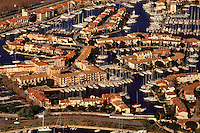 France. Aerial view of Port Grimaud, a planned residential marina near St. Tropez in Provence..