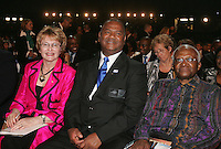 Western Cape Premier Helen Ziller, Cape Town Mayor Dan Plato and Archbishop Desmond Tutu during the FIFA Final Draw for the FIFA World Cup 2010 South Africa held at the Cape Town International Convention Centre (CTICC) on December 4, 2009.