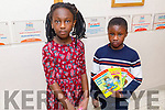 Moyderwell NS 2nd class students, Adeola Cole and Prince Uzama dressed as their favourite book character at the school on Friday.
