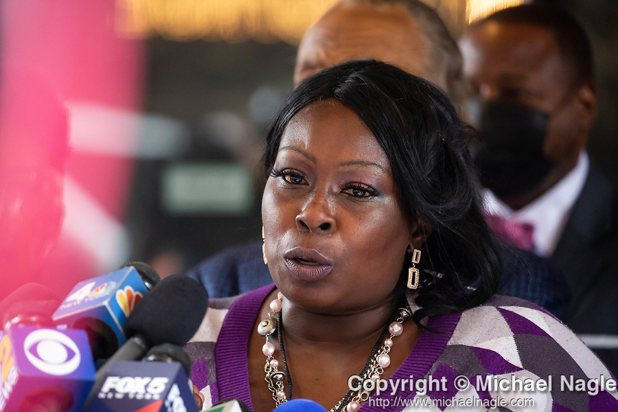 """Sequette Clark, mother of Stephon Clark, speaks at a press conference in response to the George Floyd and Duante Wright cases along with Reverend Al Sharpton, Benjamin Crump, attorney for the family of Duante Wright, and members of the """"Mother's of the Movement"""" during the National Action Network (NAN) Virtual Convention 2021 in New York on Wednesday, April 14, 2021. Photograph by Michael Nagle"""